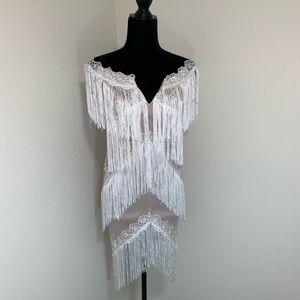 White Fringe Fitted Dress ✨